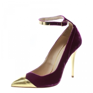 Balmain Purple Velvet And Metallic Gold Leather Ankle Strap Pointed Toe Pumps Size 40