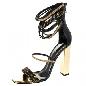 Balmain Black/Gold Leather Chain Link Open Toe Sandals Size 39.5