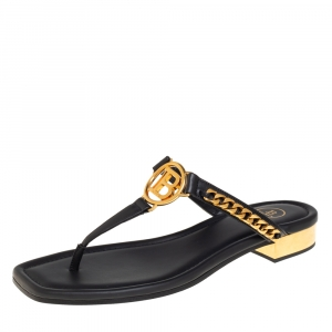 Balmain Black Leather Chain Embellished Thong Sandals Size 38
