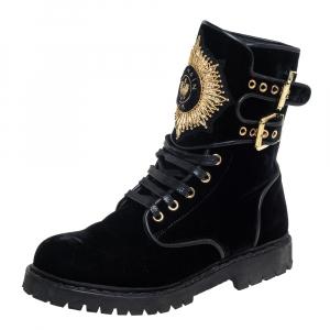 حذاء بوت بالمان كومبات أيغل مزخرف قطيفة أسود مقاس 37