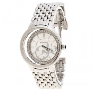 Balmain Silver Stainless Steel Diamonds Eclipse 3291 Women's Wristwatch 34 mm
