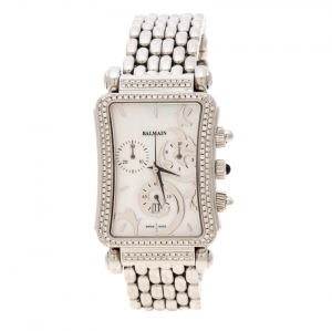 Balmain White Mother of Pearl Stainless Steel Diamonds Jolie Madame 5851 Women's Wristwatch 29 mm