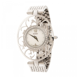 Balmain Mother of Pearl Stainless Steel Diamonds 3075 Women's Wristwatch 32 mm