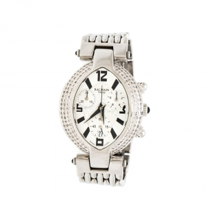 Balmain Silver Stainless Steel and Diamond Excessive Chronograph 5831 Women's Wristwatch 32 mm