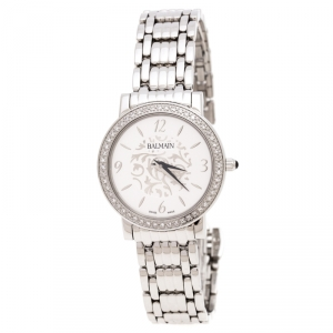 Balmain Silver Stainless Steel Diamonds B1695 Women's Wristwatch 29 mm
