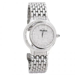Balmain Diamond Pave Stainless Steel Eclipse Women's Wristwatch 34 mm