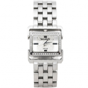 Balmain Silver Stainless Steel Diamond 2198 Rectangular Women Wristwatch 24 mm