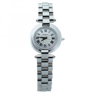 """ساعة يد نسائية بالمان """"2111"""" ستانلس ستيل فضية 28 مم"""