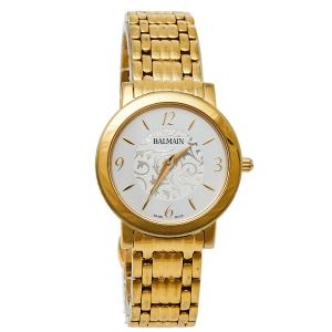 ساعة يد نسائية بالمان ايليغانس شيك 1690 ستانلس ستيل ذهبي اللون فضية 29 مم
