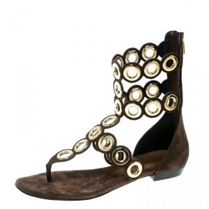Barbara Bui Brown Suede Eyelet Detail Flat Thong Sandals Size 37