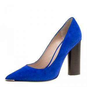 Barbara Bui Blue Suede Metal Pointed Toe Block Heel Pumps Size 38