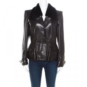 Barbara Bui Dark Brown Fur Collar Belted Leather Jacket L