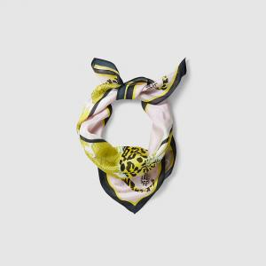 """وشاح باوم أوند فيردغردن """"ليكسين"""" حرير مطبوع نقشة الفهد أصفر مقاس واحد"""
