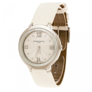Baume & Mercier Silver White Stainless Steel Promesse MOA10177 Women's Wristwatch 34 mm