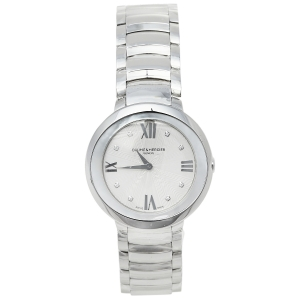Baume & Mercier Silver Mother Of Pearl Stainless Steel Promesse 65762 Women's Wristwatch 34 mm