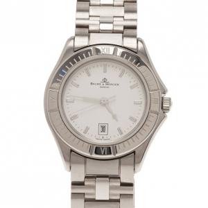 ساعة يد باوميه & ميرسيه بيضاء ستانلس ستيل كلاسيكية للنساء 30مم