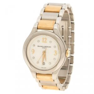 Baume & Mercier White Mother of Pearl Yellow Gold Capped Stainless Steel Women's Wristwatch  30 mm