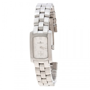 Baume & Mercier White Stainless Steel Hampton Milleis 65309 Women's Wristwatch 22 mm