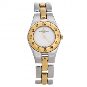 Baume & Mercier White Two-Tone Stainless Steel Linea MV045203 Women's Wristwatch 22 mm