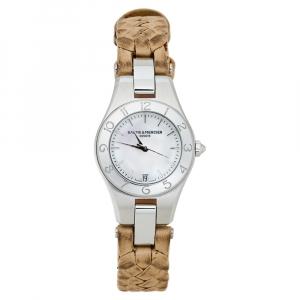"""ساعة يد نسائية باوميه & ميرسيه """"لينيا 65690"""" ستانلس ستيل بيضاء 27 مم"""