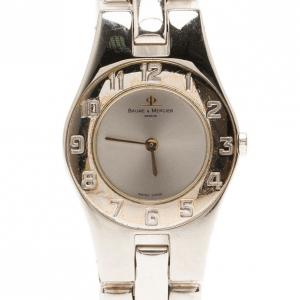 ساعة يد نسائية باوميه & ميرسيه كلاسيكية فولاذ مقاوم للصدأ فضية 24 مم