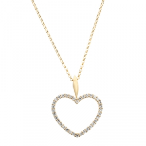 Bernhard H. Mayer Adonia Diamond 18k Yellow Gold Heart Pendant Necklace