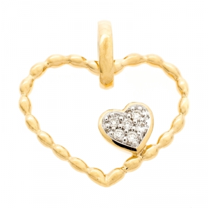 Bernhard H. Mayer Amore Twin Diamond 18k Yellow Gold Pendant