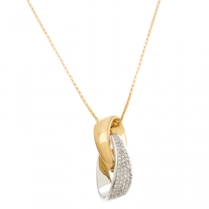 Bernhard H. Mayer Helix Diamond Two Tone 18k Gold Pendant Necklace
