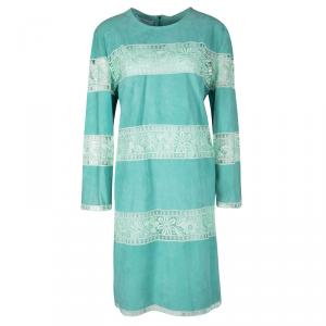 Blumarine Resort'16 Turquoise Goat Leather Embroidered Lace Panel Detail Dress XL