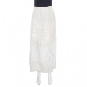 Blumarine Ivory Floral Embroidered Applique Detail Tulle Overlay Maxi Skirt XL