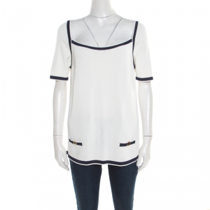 Blumarine Off White Contrast Trim Knit Short Sleeve Top L