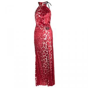 Blumarine Red Animal Printed Silk Neck Tie Embellished Detail Maxi Dress M