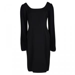 Blumarine Black Plisse Long Sleeve Detail Dress L
