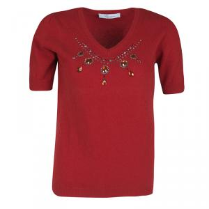 Blumarine Red Embellished Wool and Cashmere Short Sleeve Sweater M