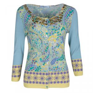 Blumarine Blue Floral Printed Knit Embellished Cardigan M