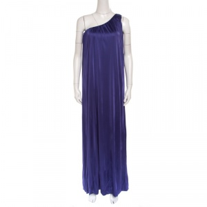 Blumarine Purple Knit One Shoulder Draped Maxi Dress M - used