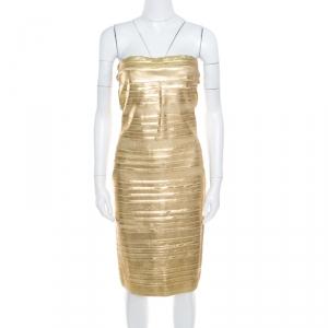 Blumarine Metallic Gold Foil Printed Textured Strapless Bodycon Dress M - used