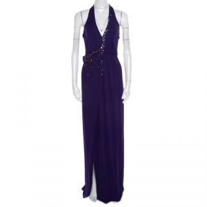 Blumarine Purple Embellished Draped Halter Gown S used
