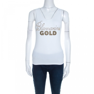 Blumarine White and Gold Embellished Stretch Cotton Sleeveless Top