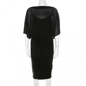 Blumarine Black Stretch Knit and Chiffon Butterfly Sleeve Dress M - used