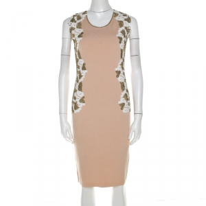 Blumarine Beige Knit Gold Embroidered Detail Dress M - used