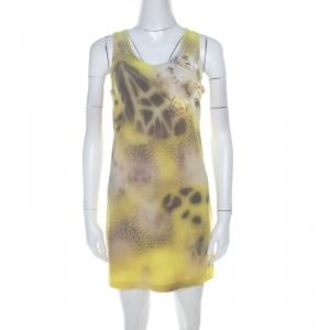 Blumarine Yellow Printed Applique Detail Short Dress S - used