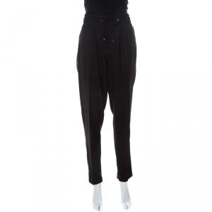 Blumarine Black Crepe Elasticized Waist Trousers L