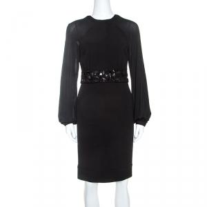 Blumarine Black Stretch Wool Crepe Embellished Belted Sheath Dress S - used