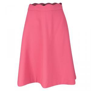 Boss By Hugo Boss Pink Scalloped Waist Detail A-Line Skirt L