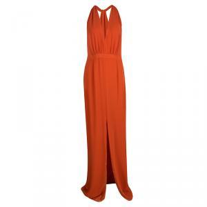 Boss By Hugo Boss Orange Plunge Halter Neck Diwendyn Maxi Dress M