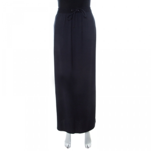 Boss By Hugo Boss Navy Blue Drawstring Waist Maxi Bendrah Skirt L