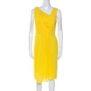 Boss By Hugo Boss Yellow Crepe Pleated Sleeveless Drapira Dress L
