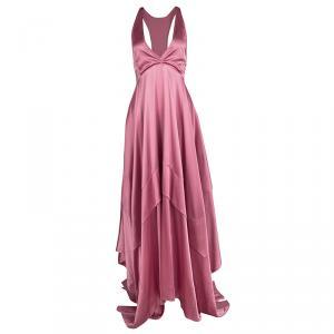Boss By Hugo Boss Pink Silk Satin Asymmetric Sleeveless Maxi Dress M