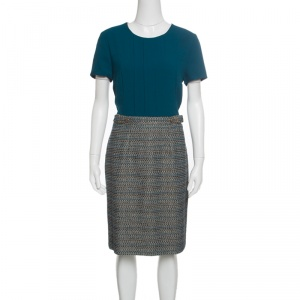 Boss By Hugo Boss Teal Textured Belted Divenice Dress M - used